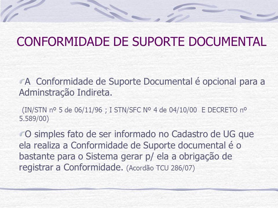 CONFORMIDADE DE SUPORTE DOCUMENTAL