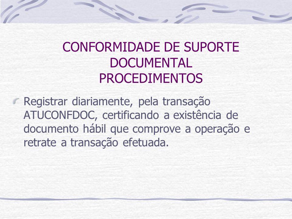 CONFORMIDADE DE SUPORTE DOCUMENTAL PROCEDIMENTOS