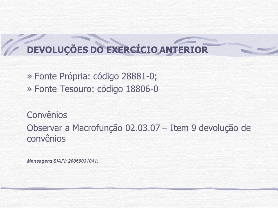 DEVOLUÇÕES DO EXERCÍCIO ANTERIOR