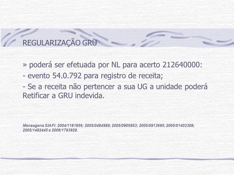 » poderá ser efetuada por NL para acerto 212640000: