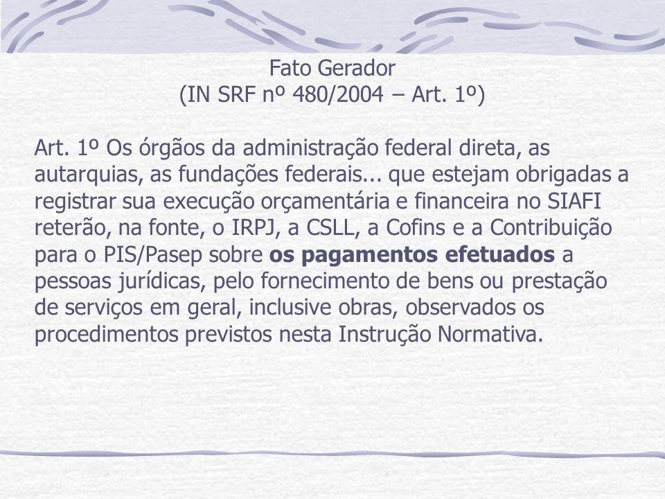 Fato Gerador (IN SRF nº 480/2004 – Art. 1º)