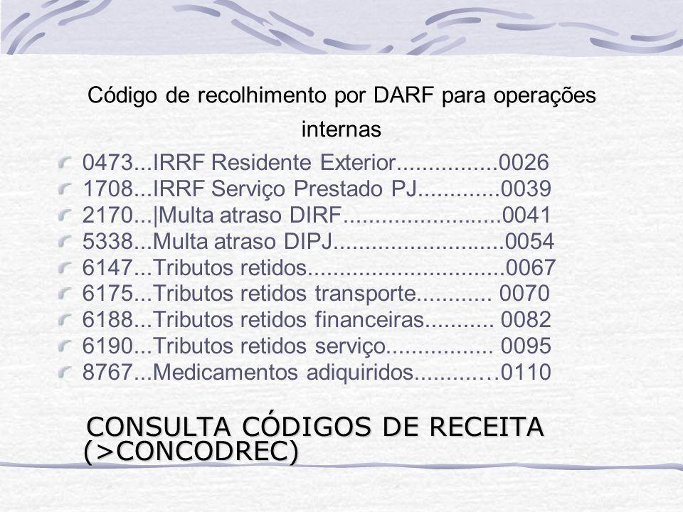 Código de recolhimento por DARF para operações internas
