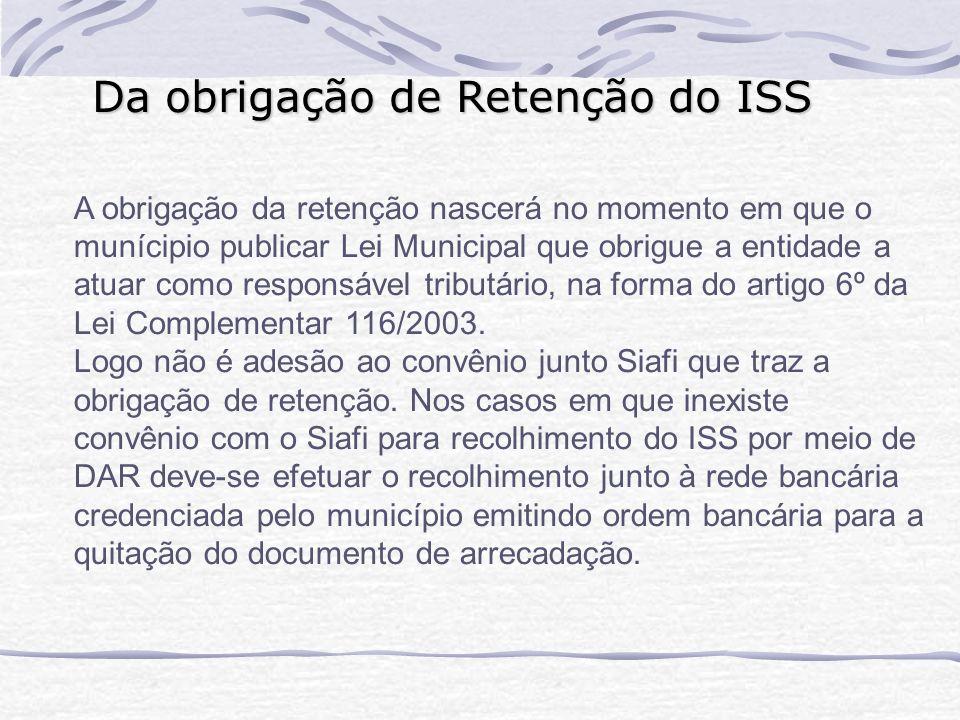 Da obrigação de Retenção do ISS
