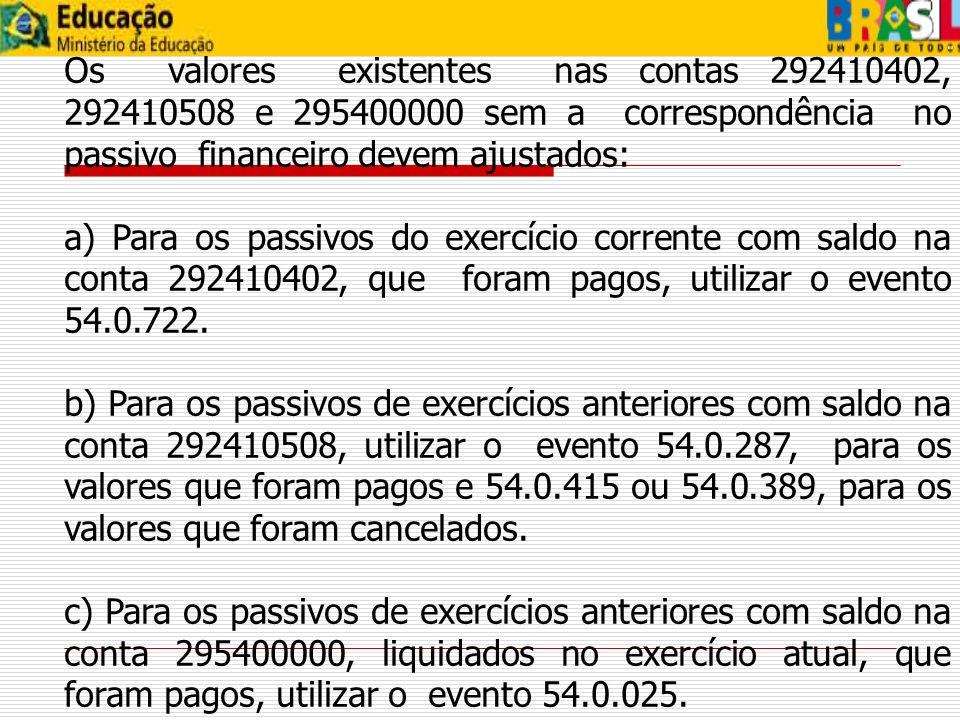 Os valores existentes nas contas 292410402, 292410508 e 295400000 sem a correspondência no passivo financeiro devem ajustados: