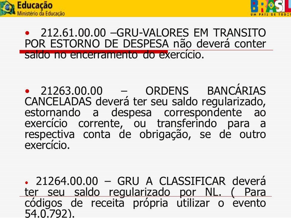 212.61.00.00 –GRU-VALORES EM TRANSITO POR ESTORNO DE DESPESA não deverá conter saldo no encerramento do exercício.