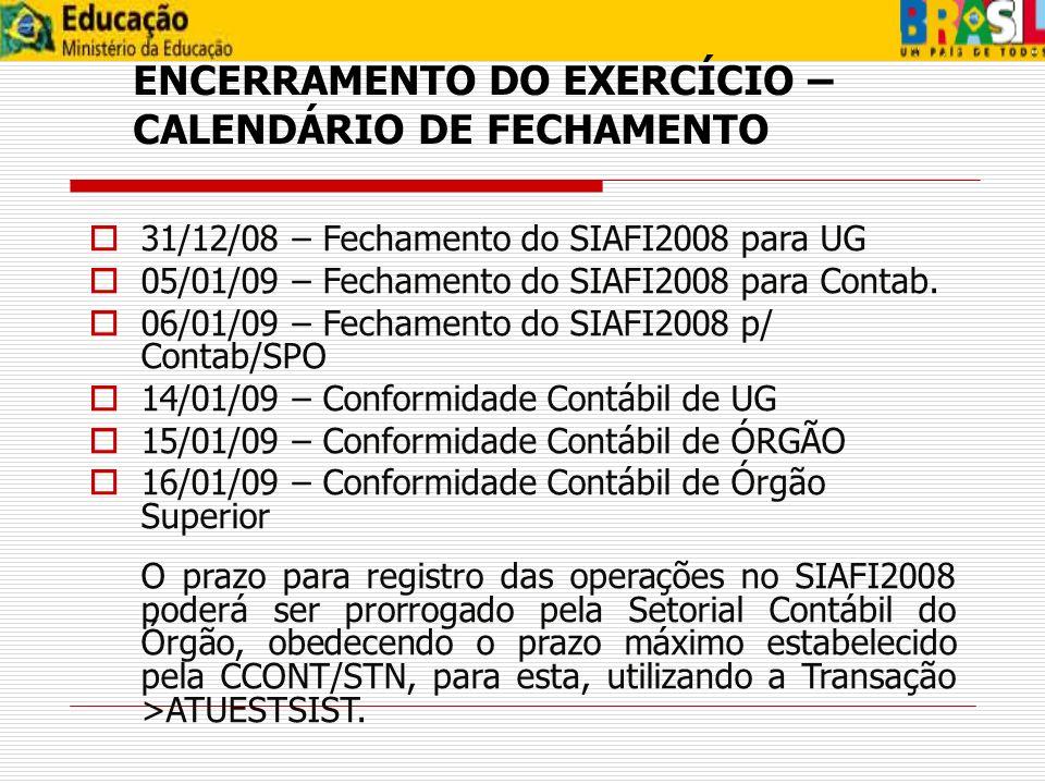 ENCERRAMENTO DO EXERCÍCIO – CALENDÁRIO DE FECHAMENTO