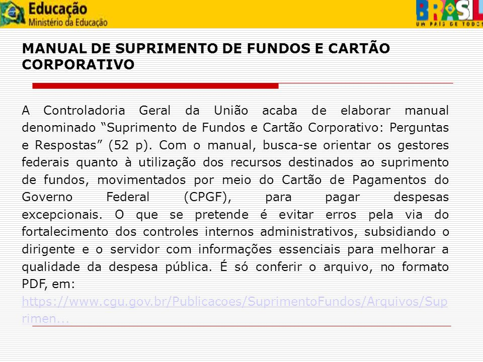MANUAL DE SUPRIMENTO DE FUNDOS E CARTÃO CORPORATIVO