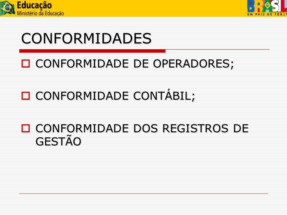 CONFORMIDADES CONFORMIDADE DE OPERADORES; CONFORMIDADE CONTÁBIL;