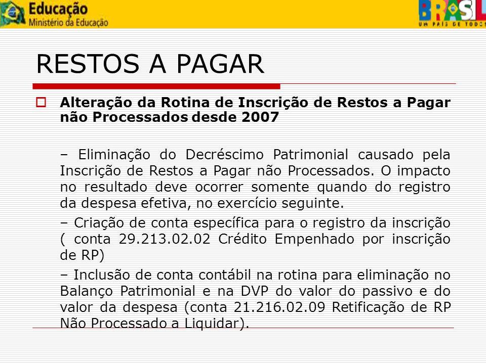 RESTOS A PAGAR Alteração da Rotina de Inscrição de Restos a Pagar não Processados desde 2007.