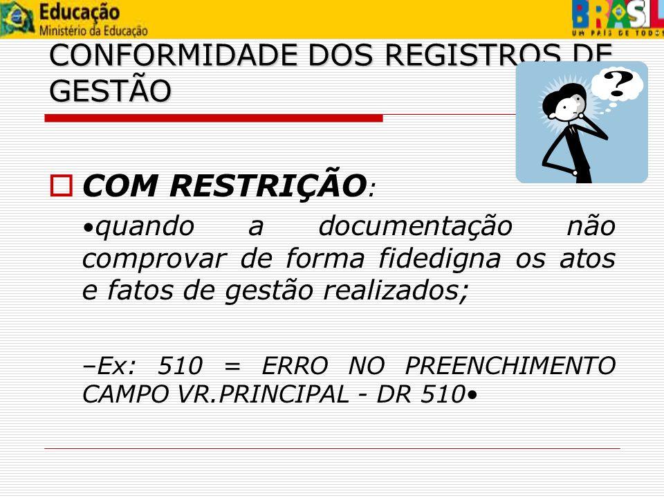 COM RESTRIÇÃO: CONFORMIDADE DOS REGISTROS DE GESTÃO