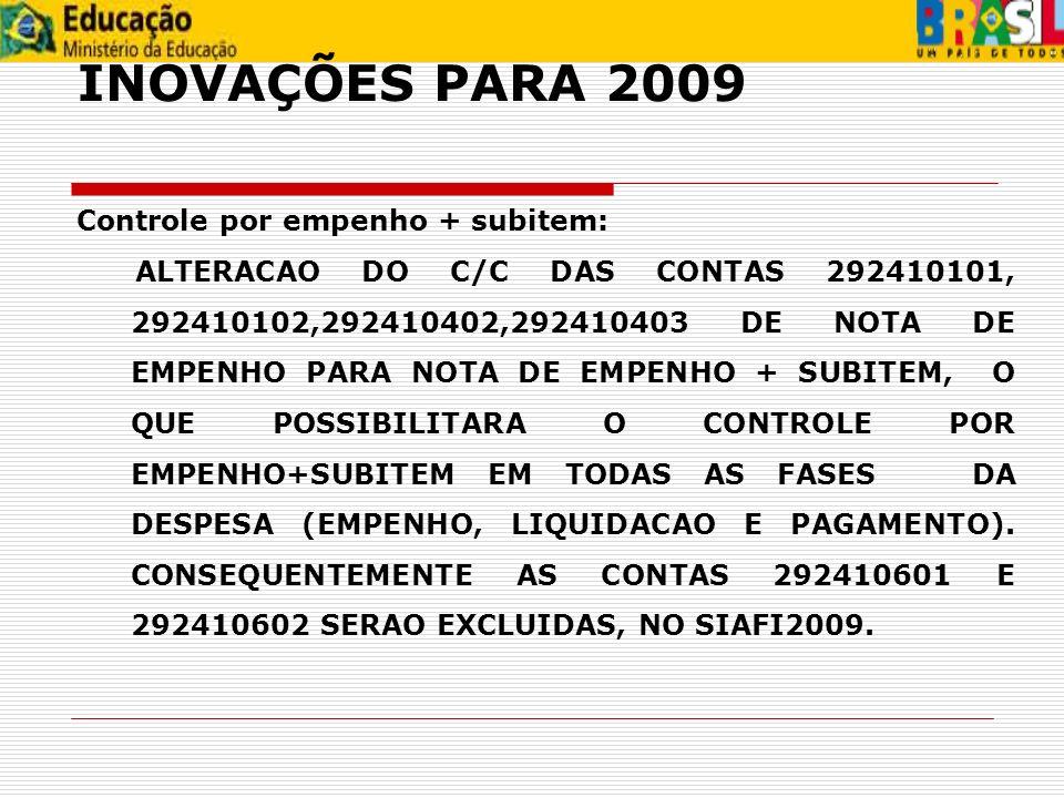 INOVAÇÕES PARA 2009 Controle por empenho + subitem: