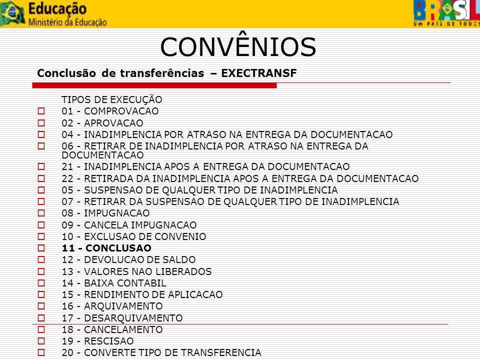 CONVÊNIOS Conclusão de transferências – EXECTRANSF TIPOS DE EXECUÇÃO