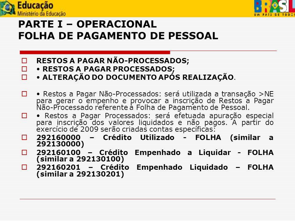 PARTE I – OPERACIONAL FOLHA DE PAGAMENTO DE PESSOAL