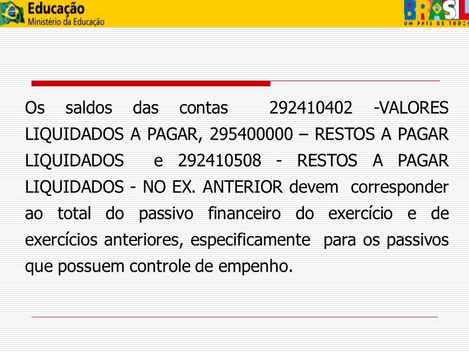 Os saldos das contas 292410402 -VALORES LIQUIDADOS A PAGAR, 295400000 – RESTOS A PAGAR LIQUIDADOS e 292410508 - RESTOS A PAGAR LIQUIDADOS - NO EX. ANTERIOR devem corresponder ao total do passivo financeiro do exercício e de exercícios anteriores, especificamente para os passivos que possuem controle de empenho.