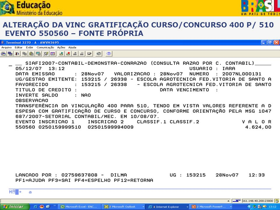 ALTERAÇÃO DA VINC GRATIFICAÇÃO CURSO/CONCURSO 400 P/ 510 EVENTO 550560 – FONTE PRÓPRIA