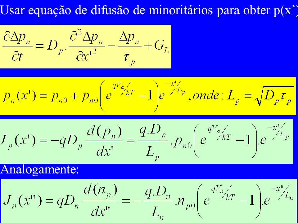 Usar equação de difusão de minoritários para obter p(x')