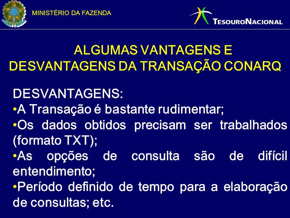 ALGUMAS VANTAGENS E DESVANTAGENS DA TRANSAÇÃO CONARQ