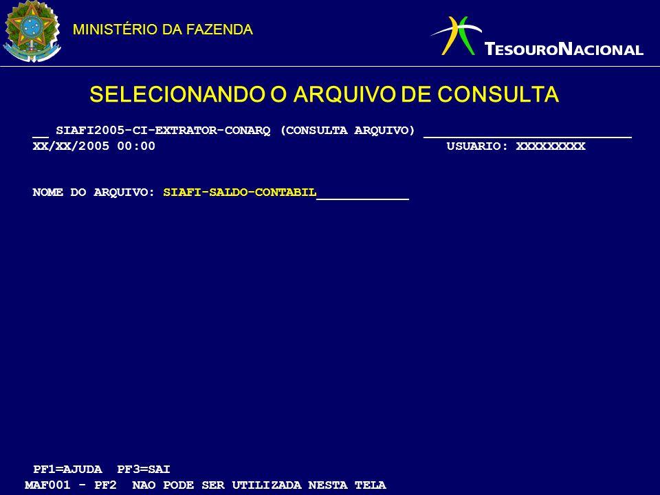 SELECIONANDO O ARQUIVO DE CONSULTA