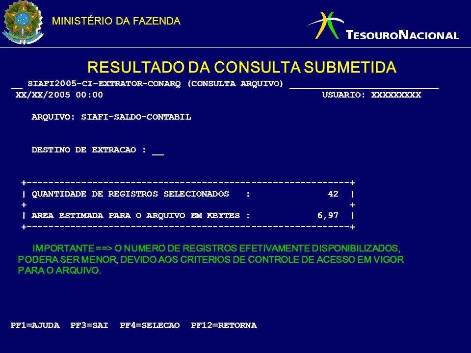 RESULTADO DA CONSULTA SUBMETIDA