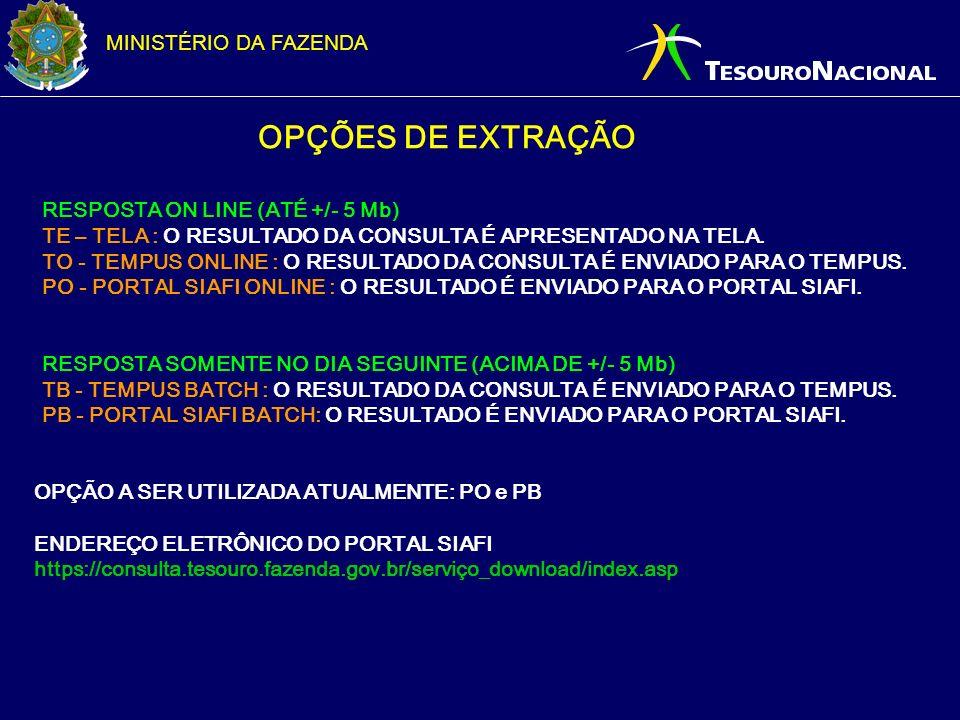 OPÇÕES DE EXTRAÇÃO RESPOSTA ON LINE (ATÉ +/- 5 Mb)