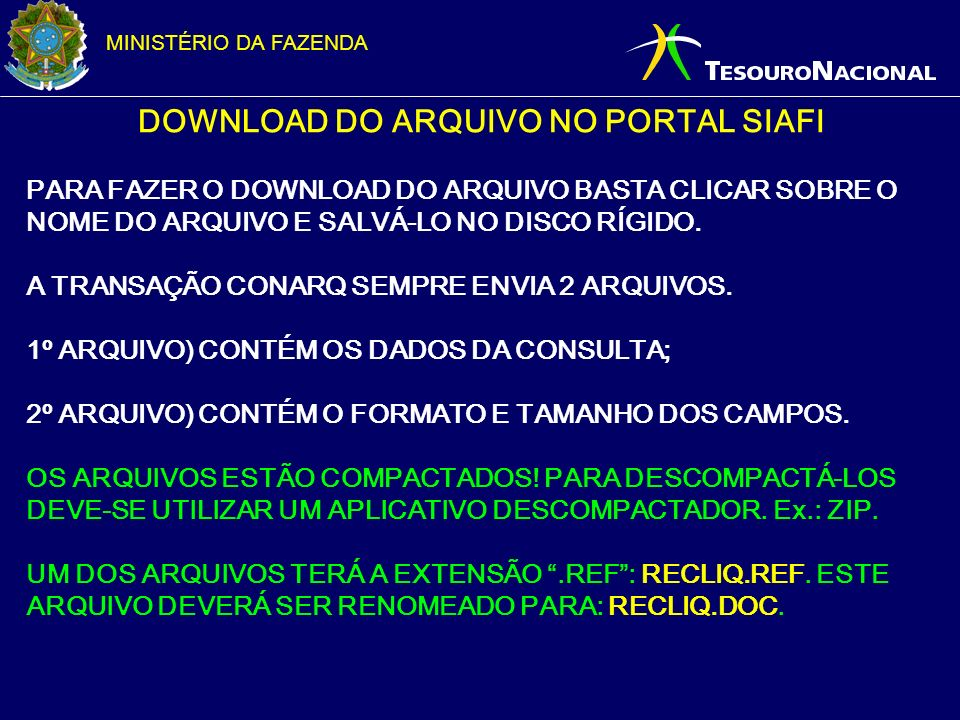 DOWNLOAD DO ARQUIVO NO PORTAL SIAFI