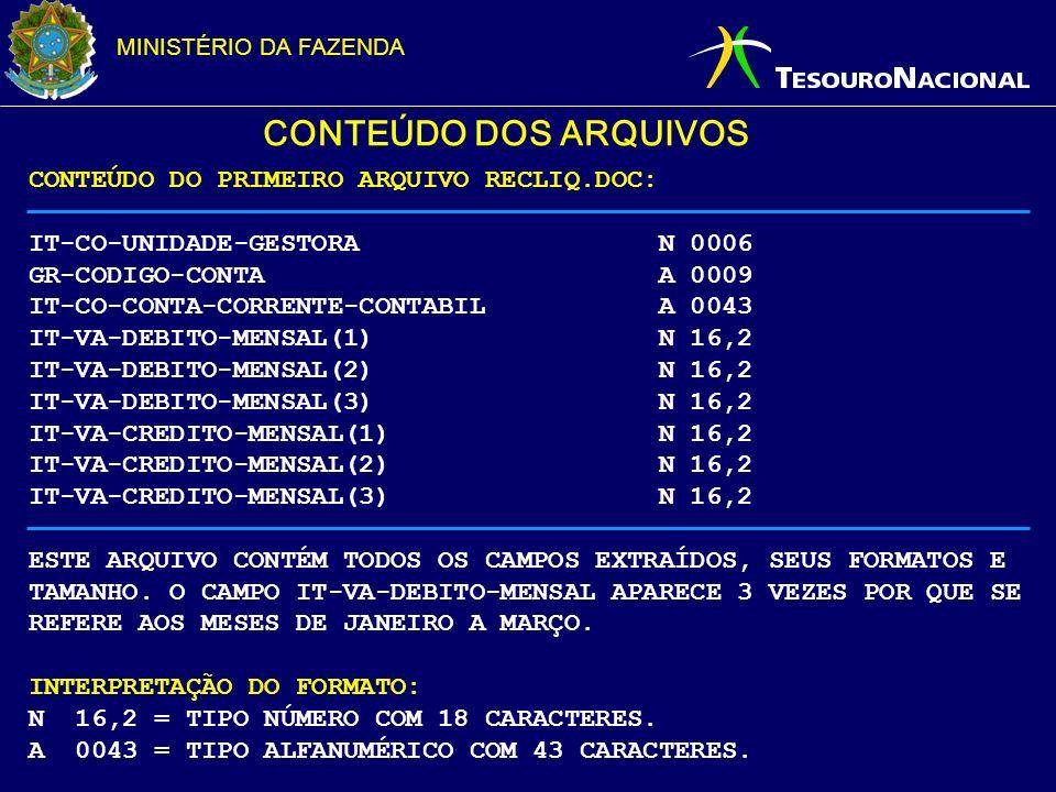 CONTEÚDO DOS ARQUIVOS CONTEÚDO DO PRIMEIRO ARQUIVO RECLIQ.DOC: