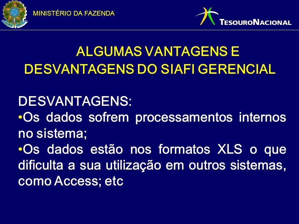ALGUMAS VANTAGENS E DESVANTAGENS DO SIAFI GERENCIAL