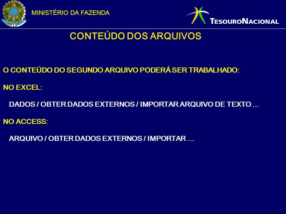 CONTEÚDO DOS ARQUIVOS O CONTEÚDO DO SEGUNDO ARQUIVO PODERÁ SER TRABALHADO: NO EXCEL: DADOS / OBTER DADOS EXTERNOS / IMPORTAR ARQUIVO DE TEXTO ...