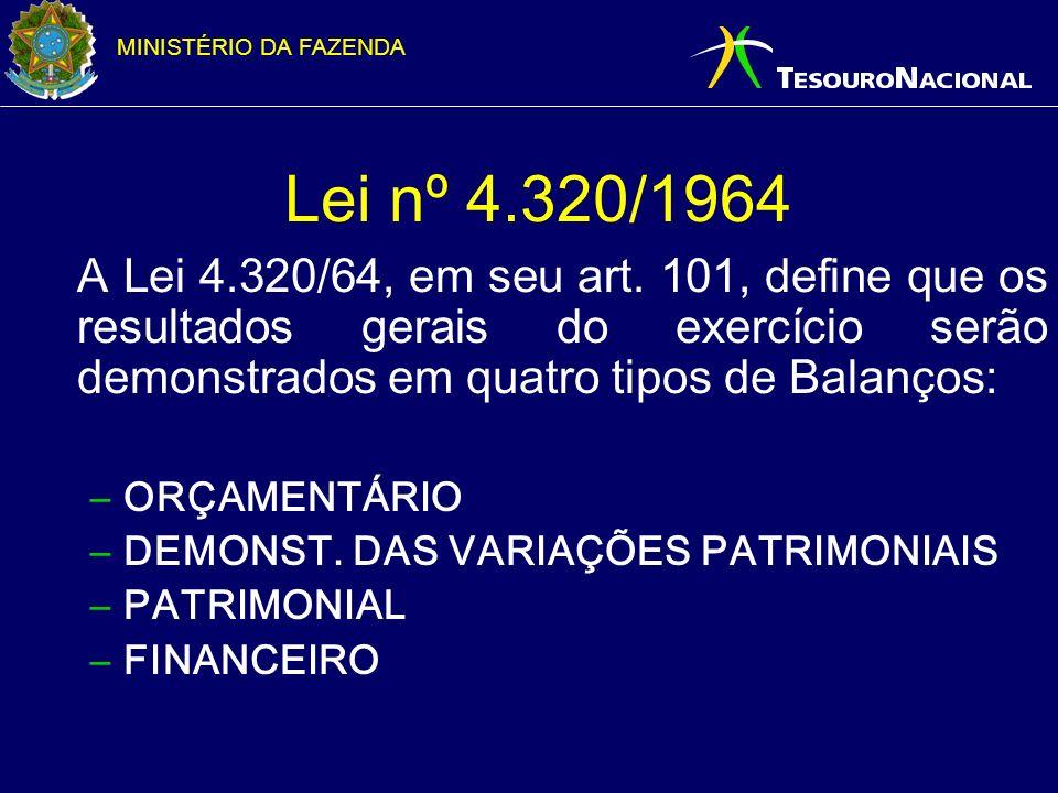 Lei nº 4.320/1964 A Lei 4.320/64, em seu art. 101, define que os resultados gerais do exercício serão demonstrados em quatro tipos de Balanços: