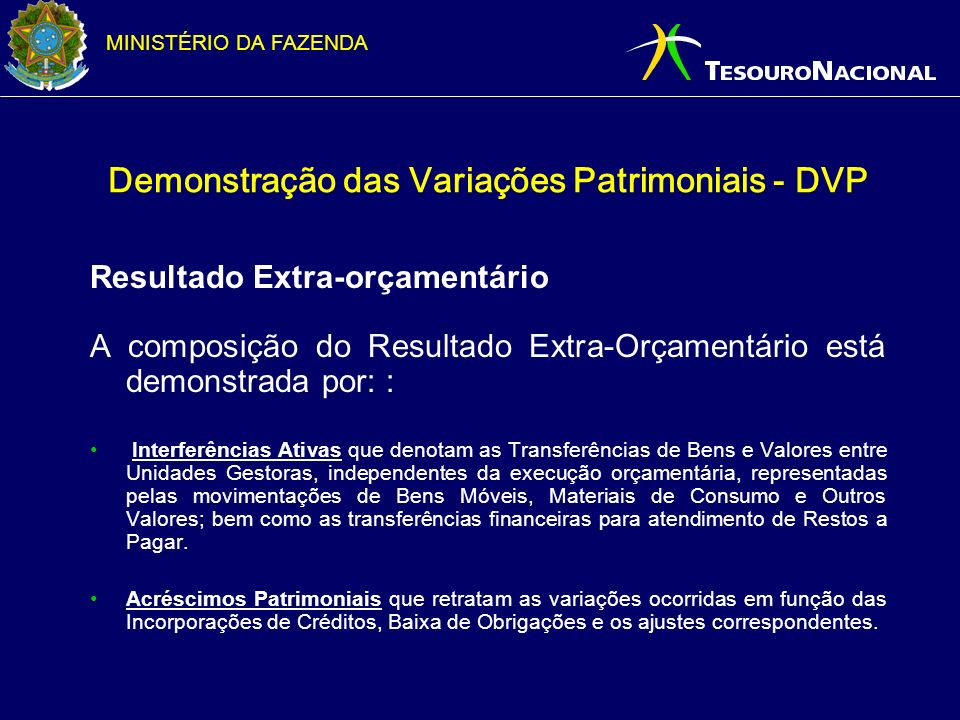 Demonstração das Variações Patrimoniais - DVP