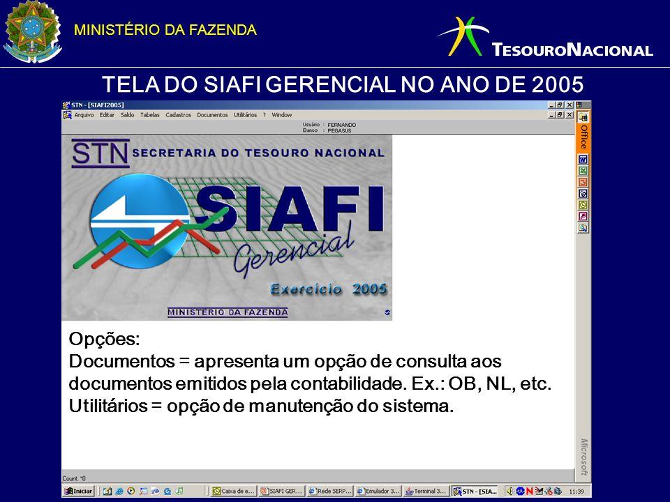 TELA DO SIAFI GERENCIAL NO ANO DE 2005