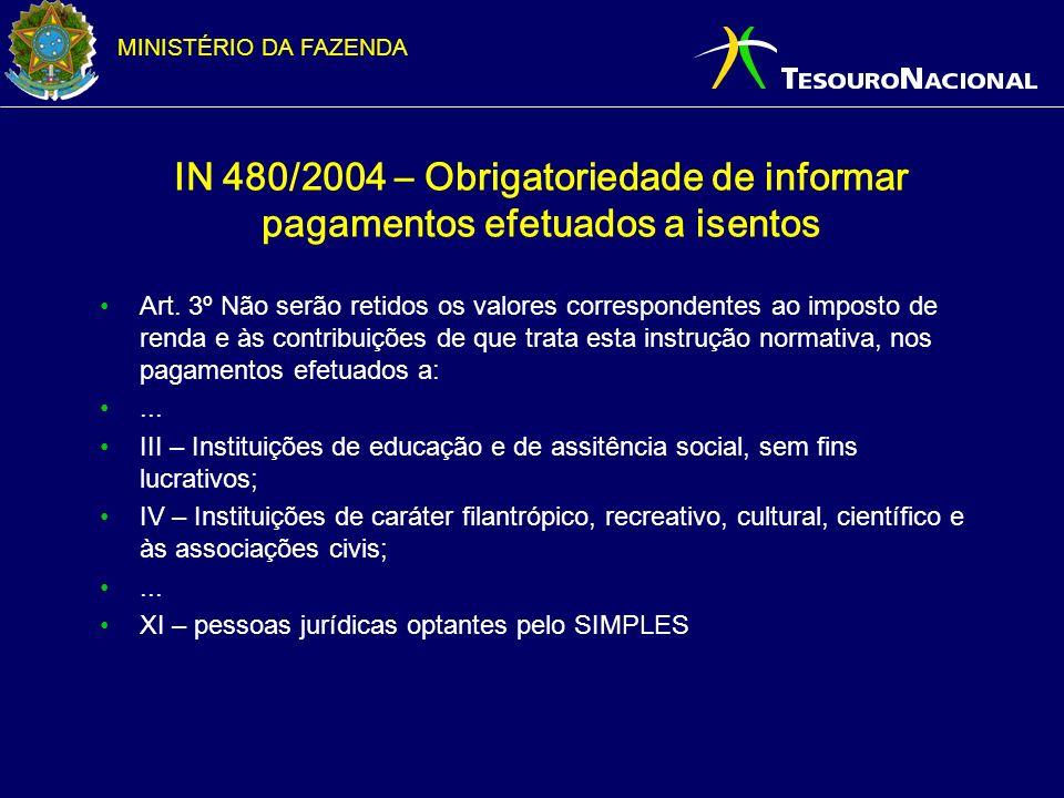 IN 480/2004 – Obrigatoriedade de informar pagamentos efetuados a isentos