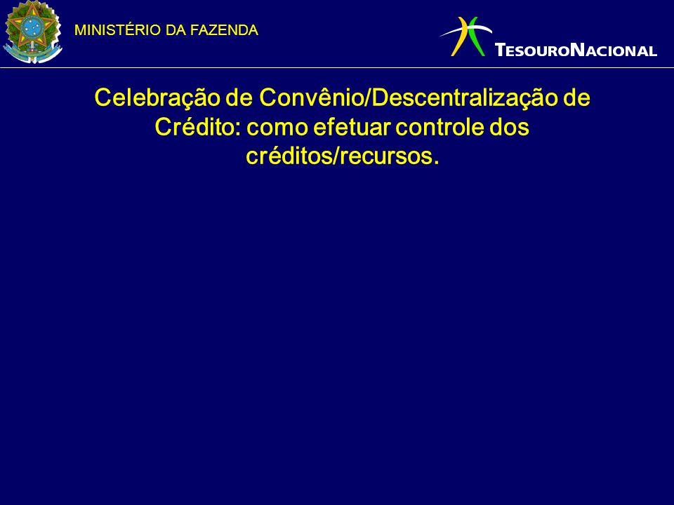 Celebração de Convênio/Descentralização de Crédito: como efetuar controle dos créditos/recursos.