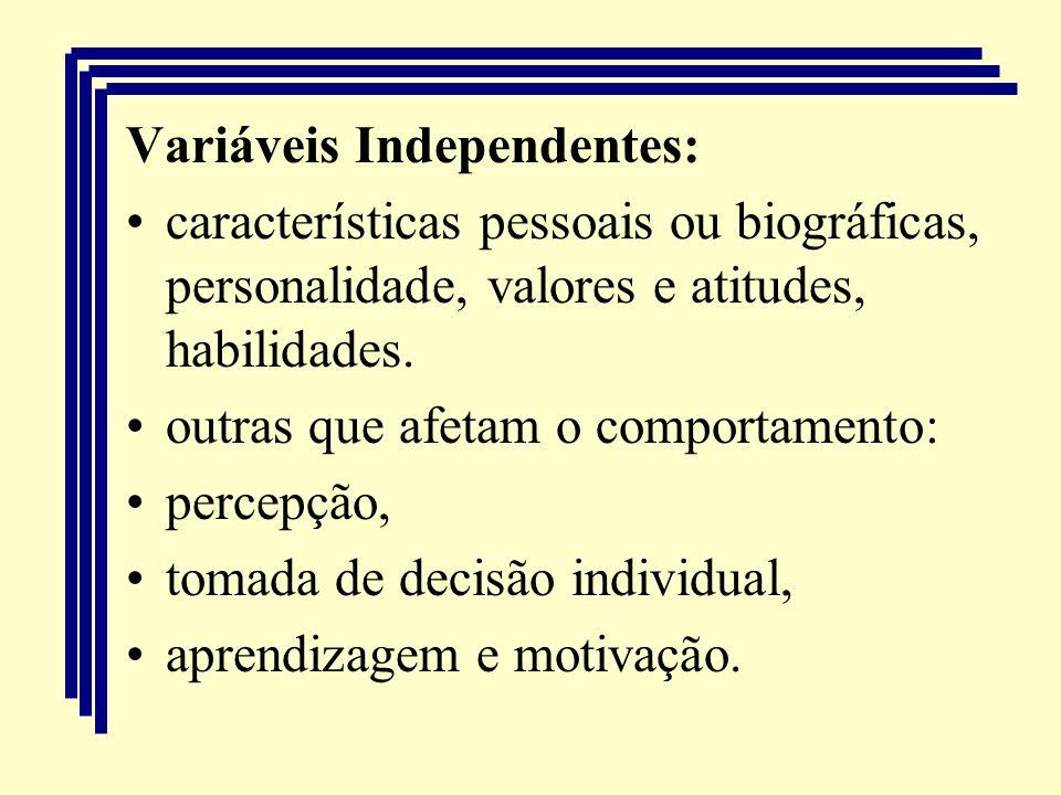 Variáveis Independentes: