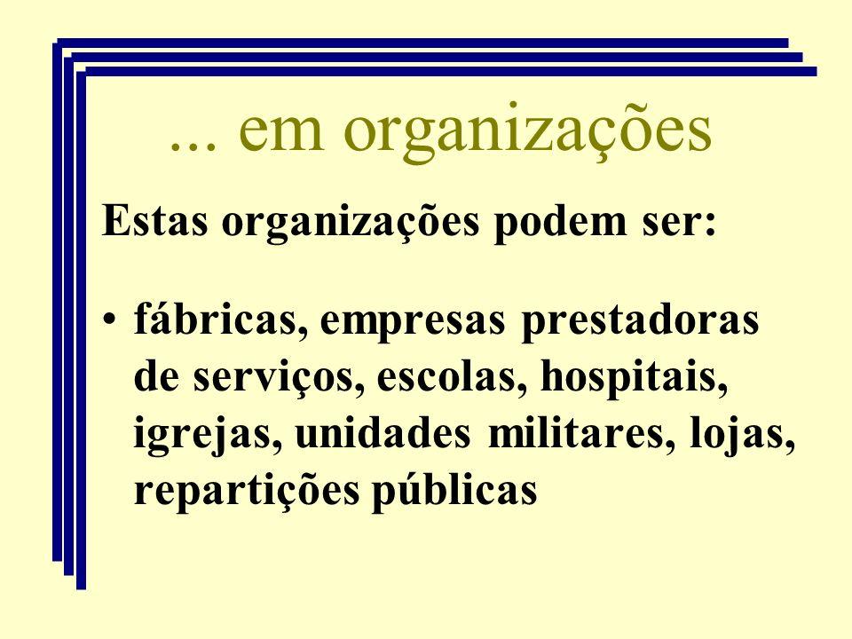 ... em organizações Estas organizações podem ser: