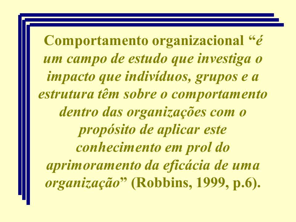 Comportamento organizacional é um campo de estudo que investiga o impacto que indivíduos, grupos e a estrutura têm sobre o comportamento dentro das organizações com o propósito de aplicar este conhecimento em prol do aprimoramento da eficácia de uma organização (Robbins, 1999, p.6).