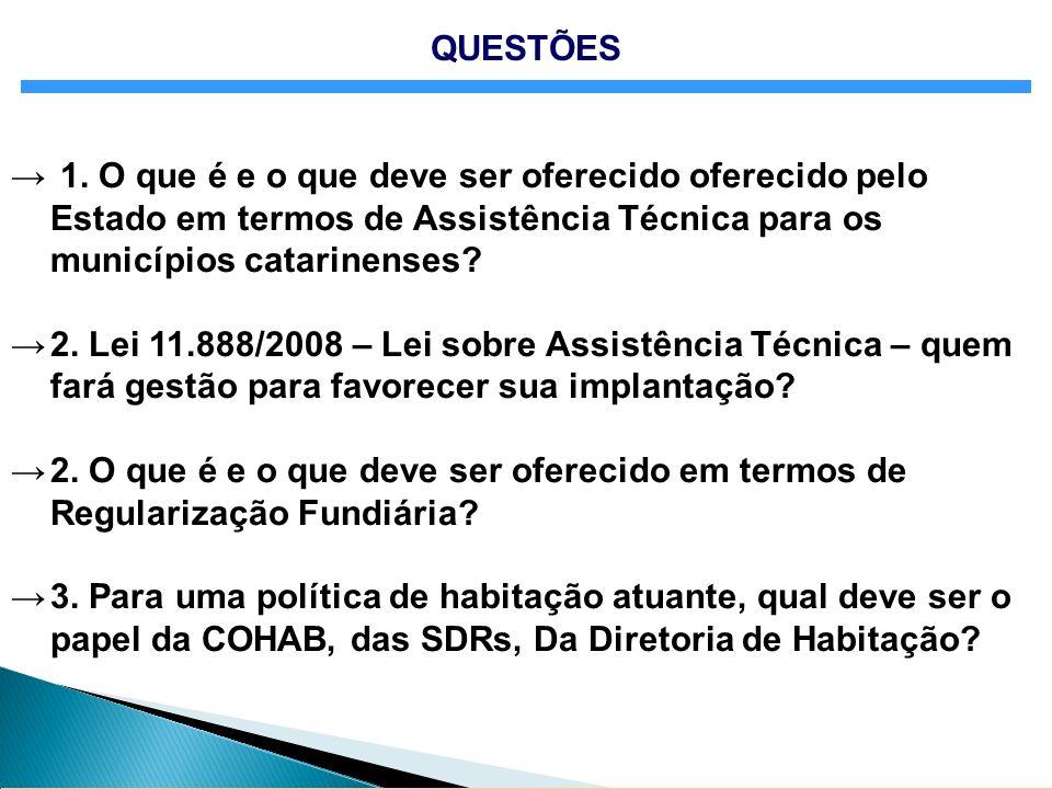 QUESTÕES 1. O que é e o que deve ser oferecido oferecido pelo Estado em termos de Assistência Técnica para os municípios catarinenses