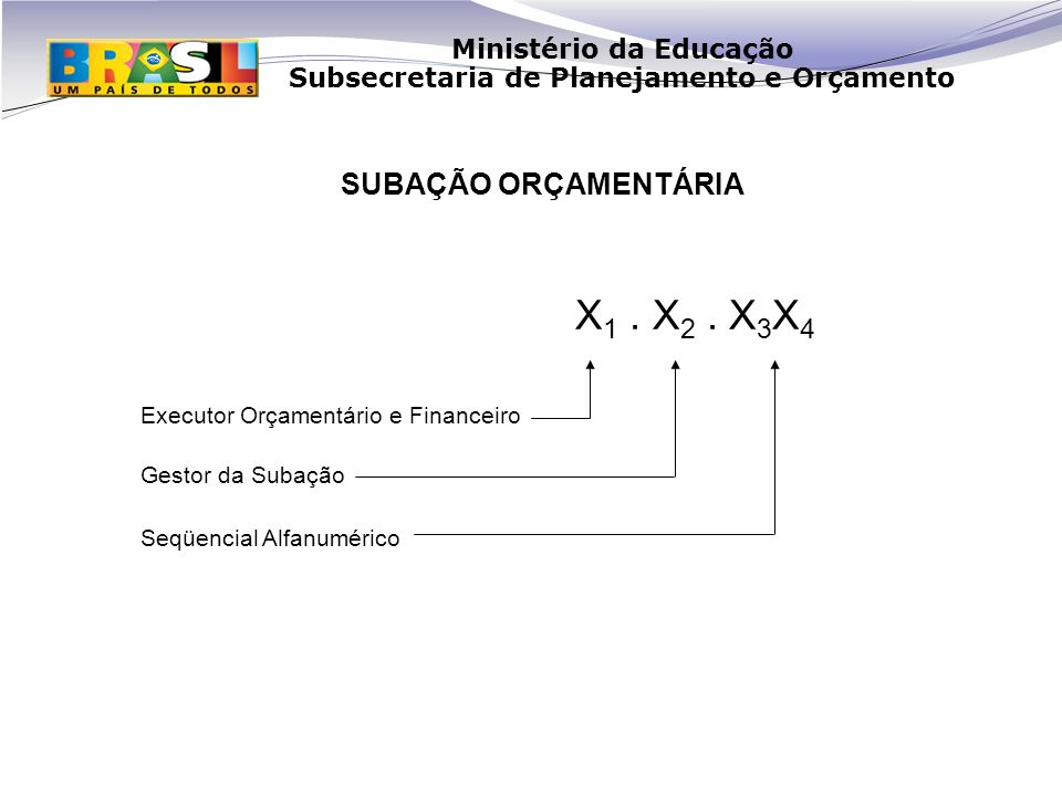 X1 . X2 . X3X4 SUBAÇÃO ORÇAMENTÁRIA Executor Orçamentário e Financeiro