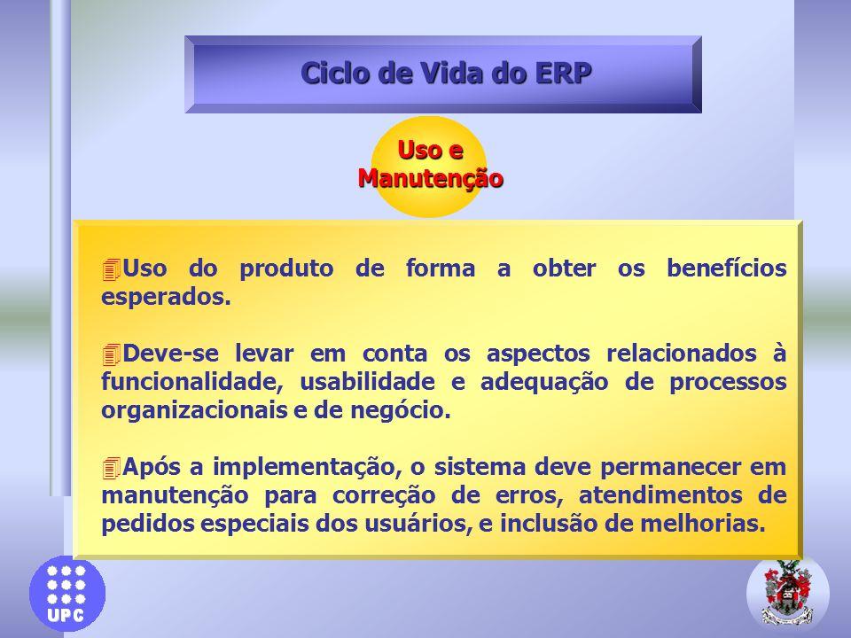 Ciclo de Vida do ERP Uso e Manutenção