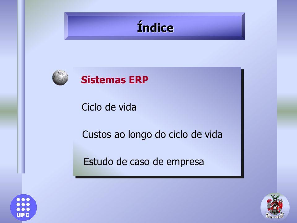 Índice Sistemas ERP Ciclo de vida Custos ao longo do ciclo de vida