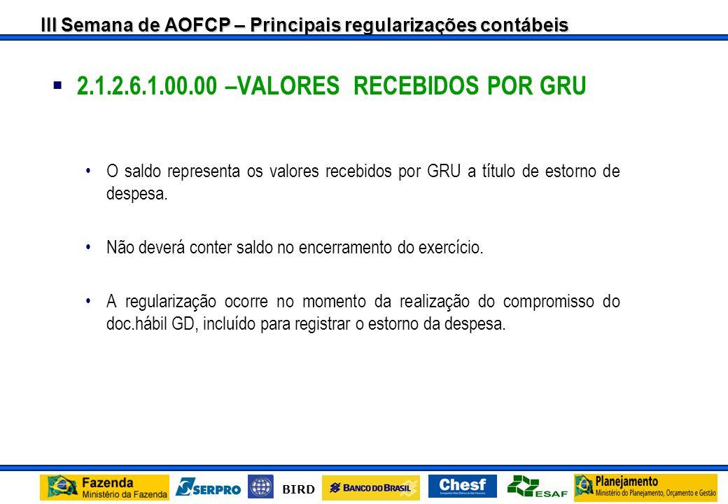2.1.2.6.1.00.00 –VALORES RECEBIDOS POR GRU