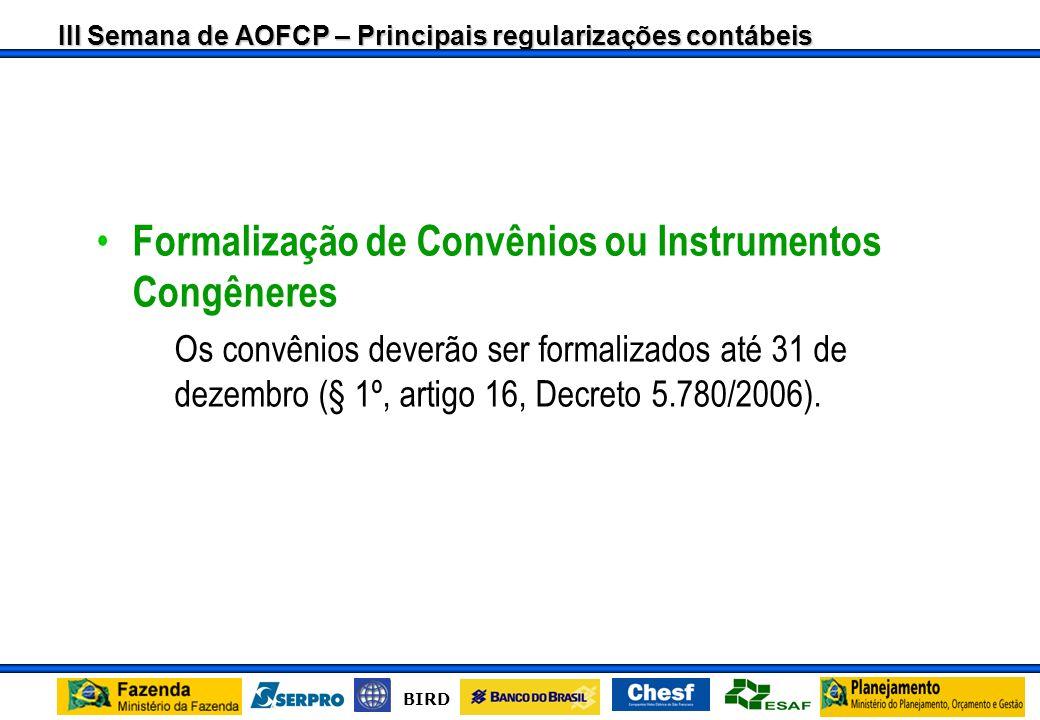 Formalização de Convênios ou Instrumentos Congêneres