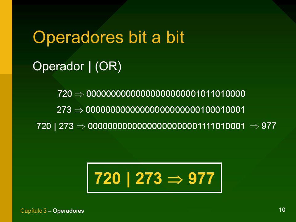 Operadores bit a bit 720 | 273  977 Operador | (OR)