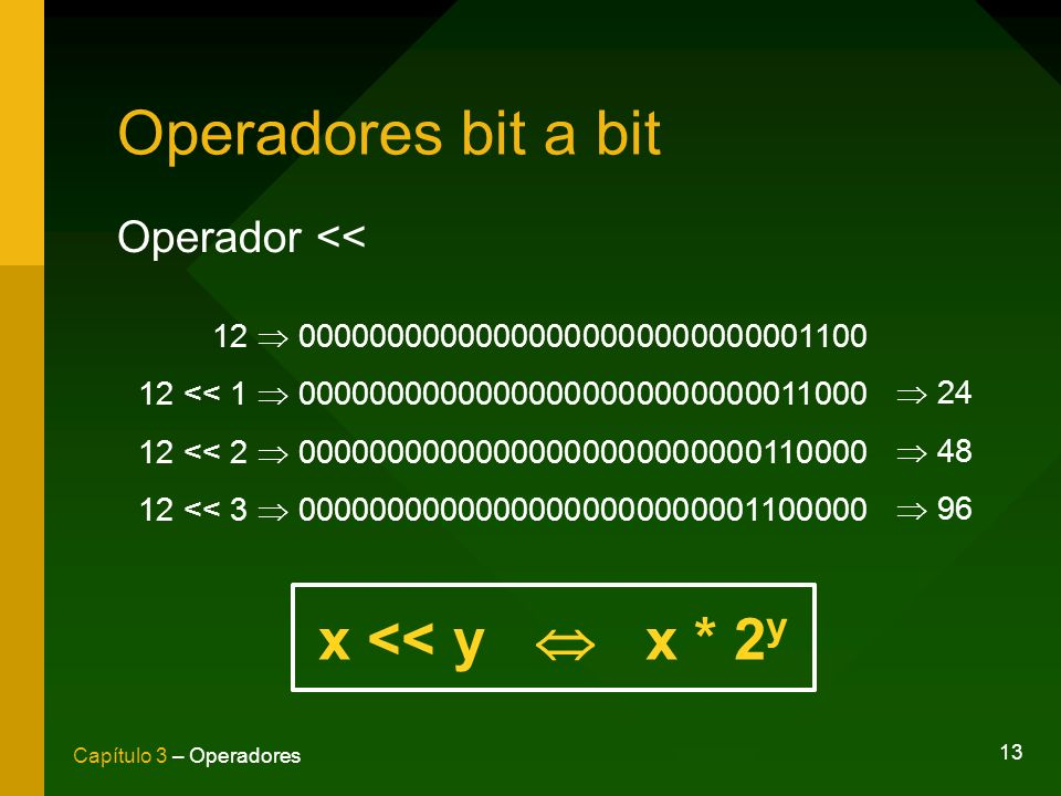 Operadores bit a bit x << y  x * 2y Operador <<