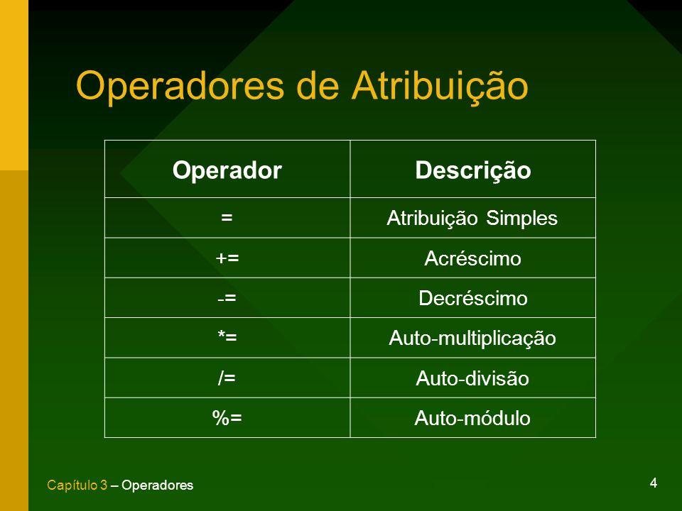 Operadores de Atribuição