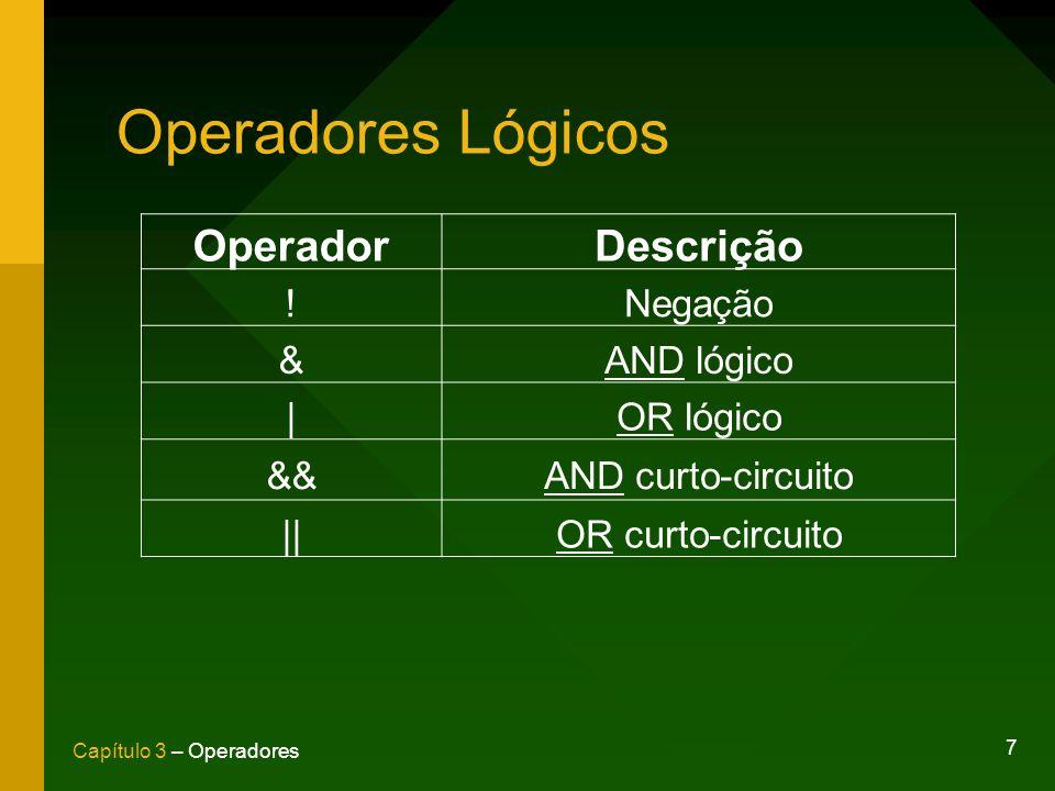 Operadores Lógicos Operador Descrição ! Negação & AND lógico |