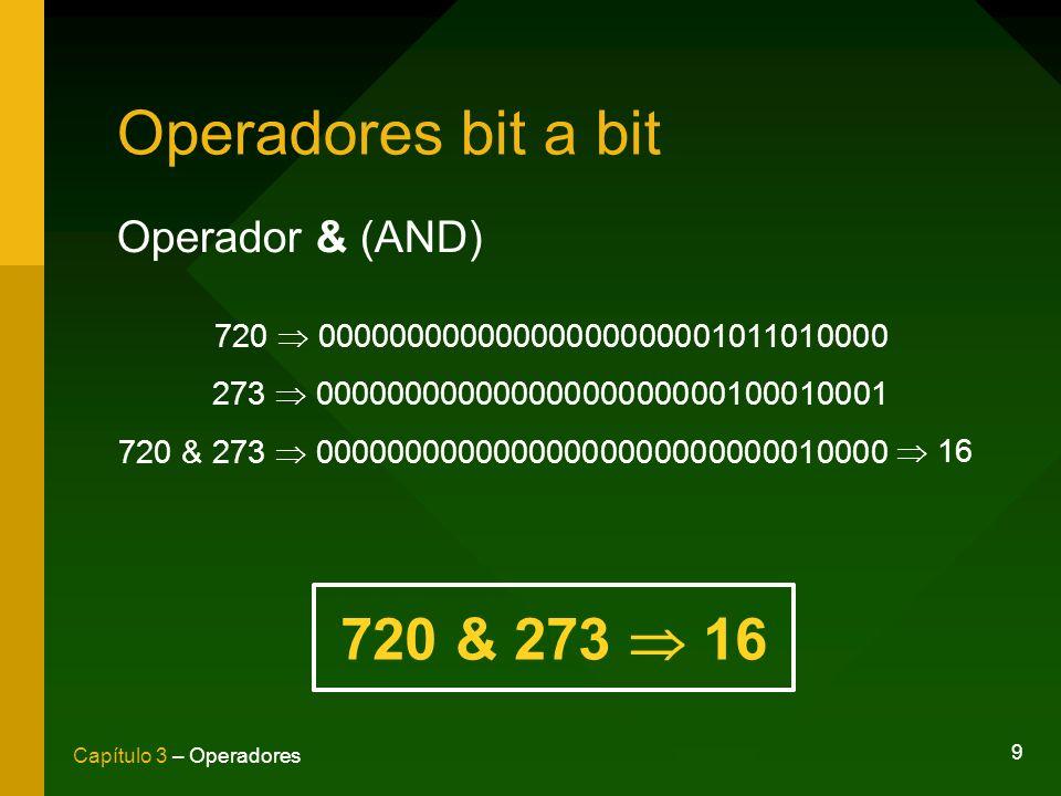 Operadores bit a bit 720 & 273  16 Operador & (AND)