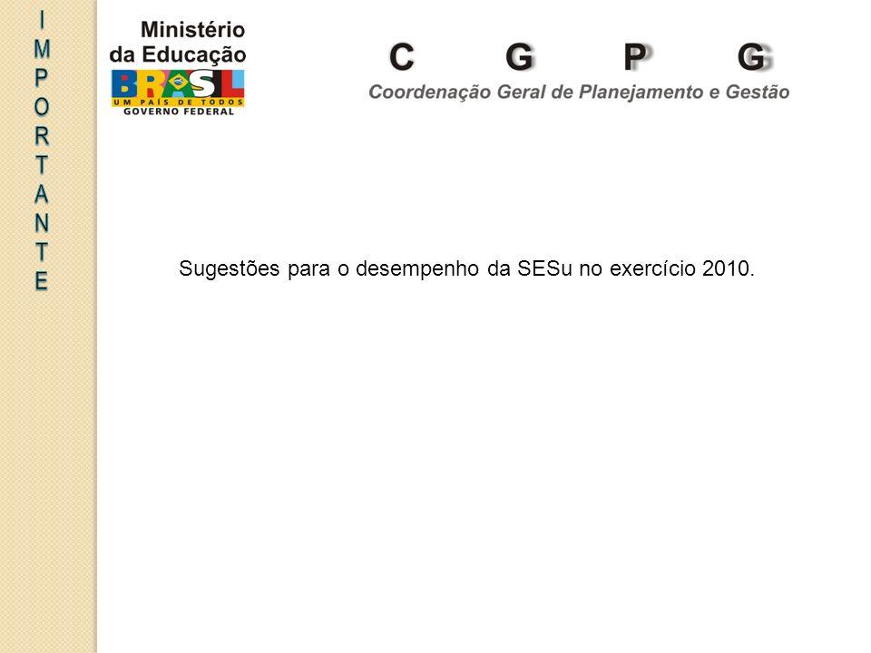 I MPORT A NTE Sugestões para o desempenho da SESu no exercício 2010.