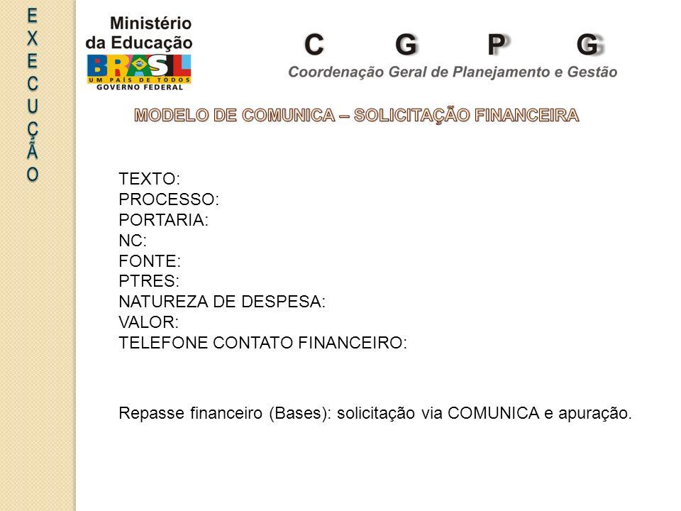MODELO DE COMUNICA – SOLICITAÇÃO FINANCEIRA