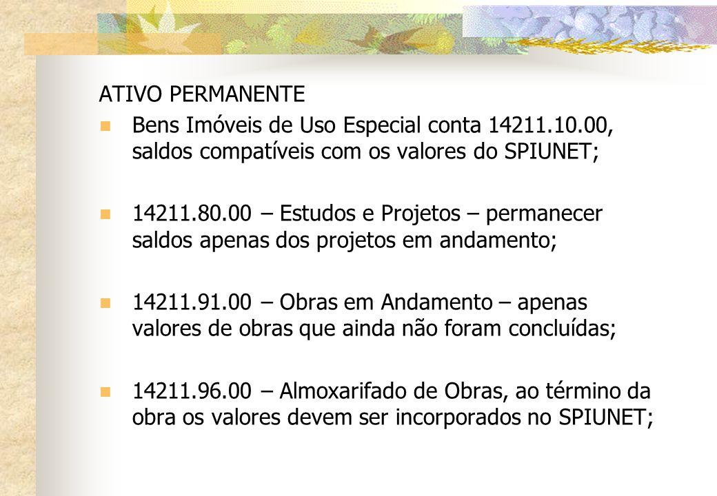 ATIVO PERMANENTE Bens Imóveis de Uso Especial conta 14211.10.00, saldos compatíveis com os valores do SPIUNET;